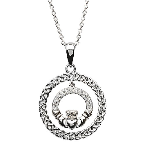 Sterling Silver Celtic Claddagh Circle Pendant Adorned By Swarovski Crystals - Made in Ireland Claddagh Circle Pendant