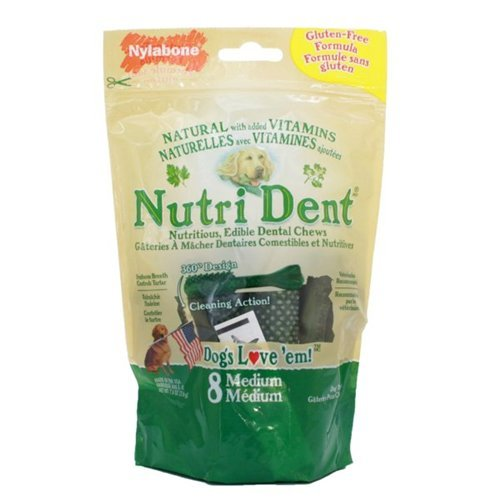 Nylabone Nutrident Edible Dental Brush Chews Medium 8 CT (Pack of 12)