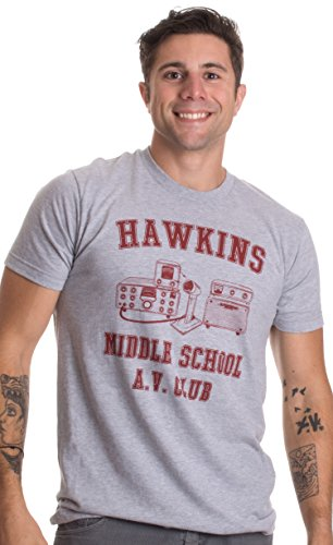 80s Guys Costumes (Hawkins Middle School A.V. Club | Vintage Style 80s Costume AV Hawkin T-shirt-(Adult,XL))