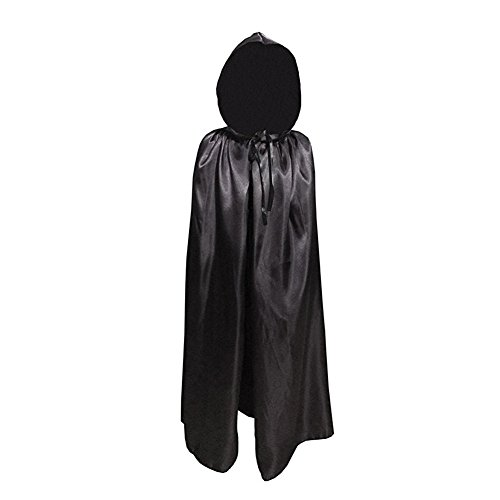 Labellevie Kids Cloak with Hood Child Unisex Hooded Cape Costume Halloween Party Black