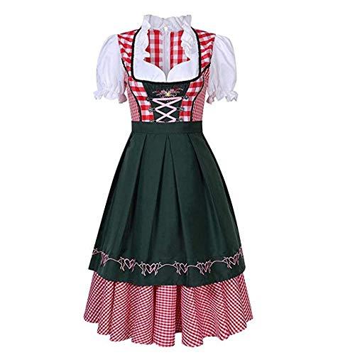 Women Oktoberfest Dirndl Costume Red Plaid German Beer Festival Girl Cosplay Bavarian Dirndl Dress Halloween Fancy Dress (Asian L=US Medium, Dark Green) ()