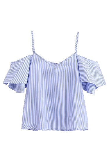 SheIn Women's Cute V Neck Cold Shoulder Short Sleeve Strappy Top Blouse Blue Small