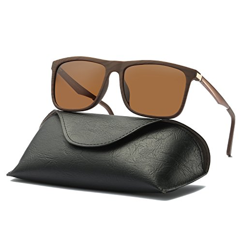 Ray Parker Men Retro Square Polarized Wayfarer Aluminum Sunglasses RP306 with Brown Wood Pattern Frame/Brown - Sunglasses Parker