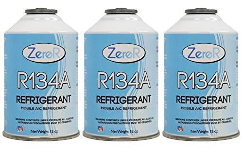 ZeroR R-134a Refrigerant - Made in USA - 12oz Cans (3) (Refrigerant Ac)