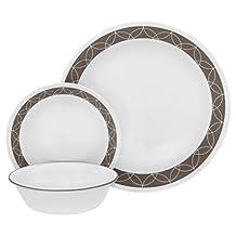 "Corelle 18 Piece ""Sand Sketch"" Livingware Dinnerware Set, White"