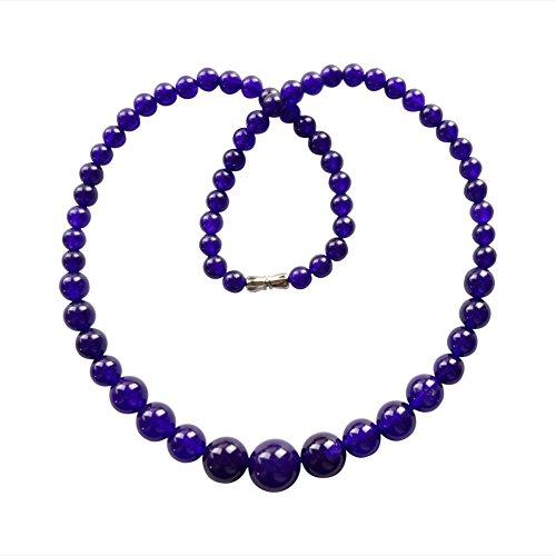 Jade Pendant Purple Beautiful (Teng Yu Beautiful Purple Jade Round Beads Necklace 17.5 Inch)