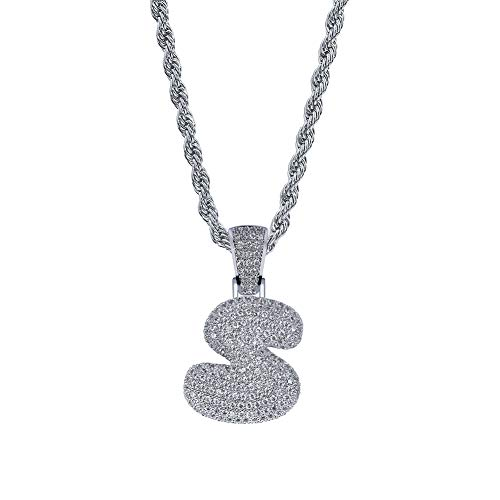 (POSHFEEL Iced Out Lab Premium Simulated Diamond Bling Bubble Letters Pendant Necklace Chain Men Hip Hop Fashion (Single Letter-Silver S,)