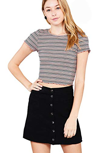 (Khanomak Short Sleeve Round Neck Lettuce Hem Multi Stripe Crop Top (Small, Pink-Olive))