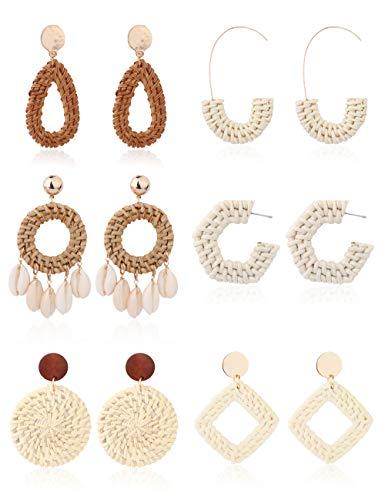 LOYLLOOK 6Pairs Hoop Drop Shell Rattan Earrings for Women Girls Square Bohemian Straw Wicker Braid Woven Earrings Geometric Statement Earrings Handmade Chandelier Dangle Stud Earrings Summer ()