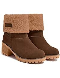 Women's Ankle Snow Boots Warm Short Boots Suede Chunky Mid Heel Round Toe Winter Hiking Outdoor Booties