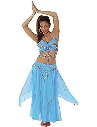 Gold Coin Women Halter Top Skirt Belly Dance Costume Hot Belly Dancer Bohemian