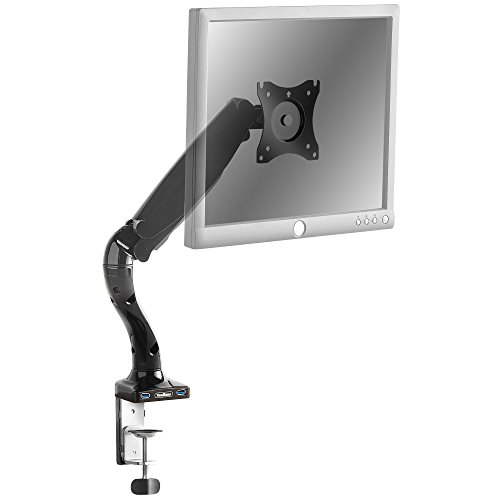 "Swing Arm Monitor Mount - VonHaus Premium Single Monitor Mount / Articulating Monitor Arm With 2 USB Ports - LED LCD Mounting Bracket For 13-27"" Screen / Gas Spring Technology For 360° Rotation"