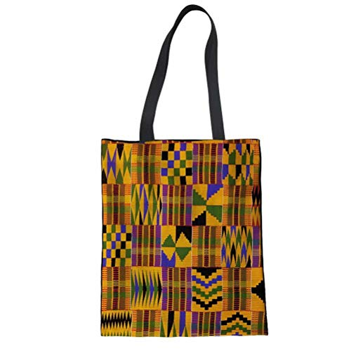 FOR U DESIGNS Teens Canvas Shopping Tote Bag African Tribal Style Printed Shoulder Bags