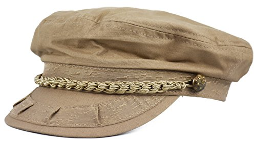 Deewang Mens Light Weight, Greek Fisherman Sailor Cap, Fiddler, Summer Hat (Khaki, S/M) -