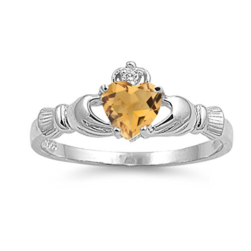 - 925 Sterling Silver Faceted Natural Genuine Yellow Citrine Claddagh Heart Promise Ring Size 6