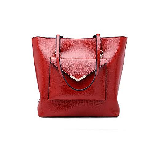 Bandoulière Shopper Pour Casual Nouveau Capacité Messenger Rouge Grande Audburn À Vintage Femme Sac tout Fourre wqfnxF