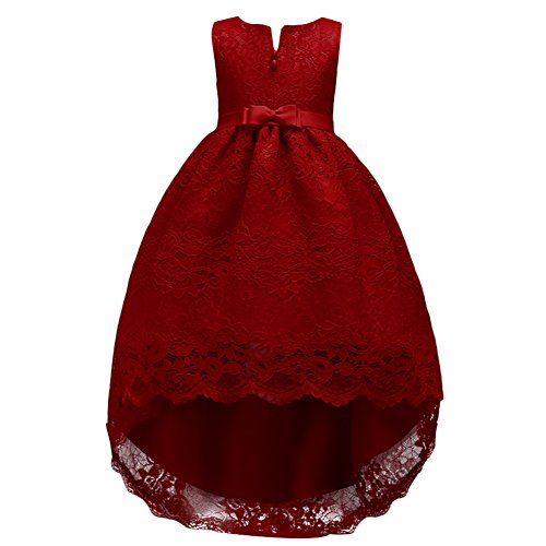 Flower Girls Long-Sleeved Hollow Lace Bowknot Pompom Tailing Long Dress Skirt Elegant Prom Gown for Wedding Formal Burgundy 12-13 Years