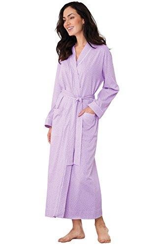PajamaGram Long Bathrobes for Women - Soft Cotton, Lavender, M/L, 10-16 -