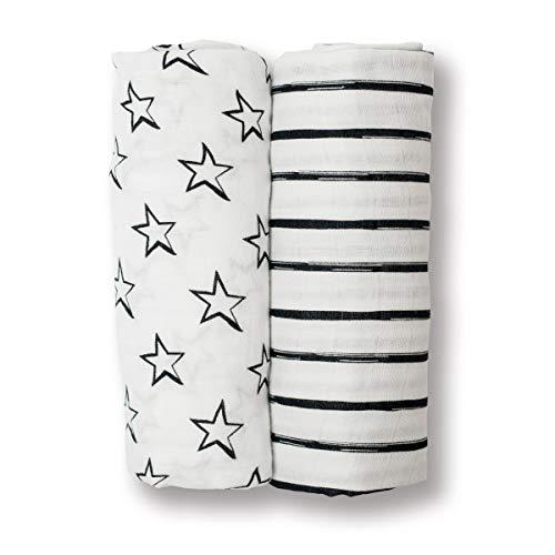 Lulujo Baby Set of 2 Cotton Muslin Swaddle Blankets, Black/White Stars & Stripes, 40 x 40-Inch