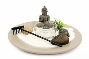 Buddha Zen Garden Tea Light Candle Holder On Plate Includes Battery Op  Candle