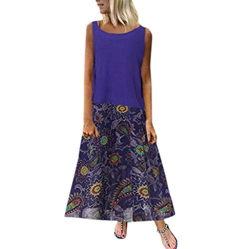 Tantisy ♣↭♣ 2Pcs Women's Basic Plain Tank Tops+Bohemian Print Flowy Pleated Skirt Plus Size Ladies Summer Casual Dress Dark Blue