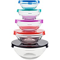 10-Pcs. Chef Buddy Glass Food Storage Containers w/ Snap Lids (Multi Colors)