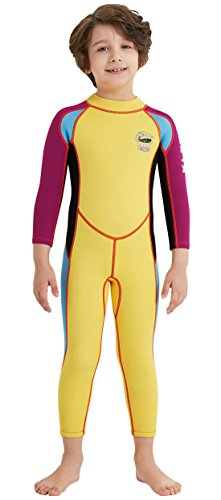 DIVE & SAIL Boys 2.5mm Neoprene Diving Wetsuit Thermal Long Sleeve UV Protection Full Stretch Swimsuits Sunsuit Yellow XXL