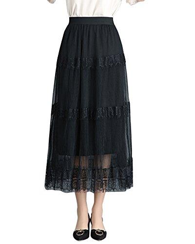 Jupes Longues en Mousseline de Soie lgante, Jupe Longue Boheme Femme ete Jupe Plisse Longue Gitane Noir