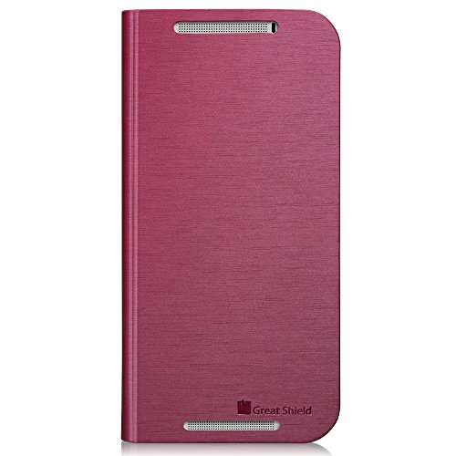 GreatShield SHIFT LX Leather Wallet Flip Case with Stand for HTC One M8 (2014) - Retail Packaging (Burgundy Red)