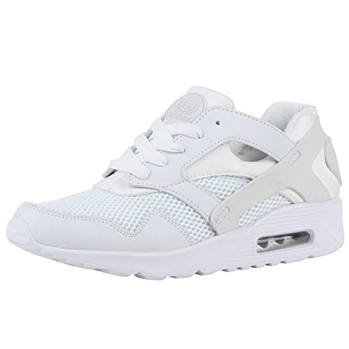 Unisex Laufschuhe Damen Herren Sportschuhe Neon Blumen Metallic Leder-Optik Schuhe Animal Print Sneakers Runners Profilsohle Flandell Weiss Brito