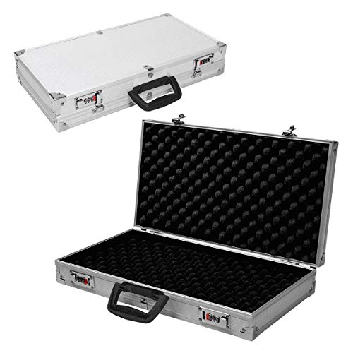 Goplus 18.5 Aluminum Framed Locking Gun Pistol HandGun Lock Box Hard Storage Carry Case