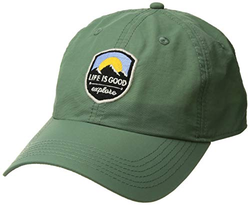 Life is Good Unisex Get Out Cap Explore Patch, Light Forest Green, One Size