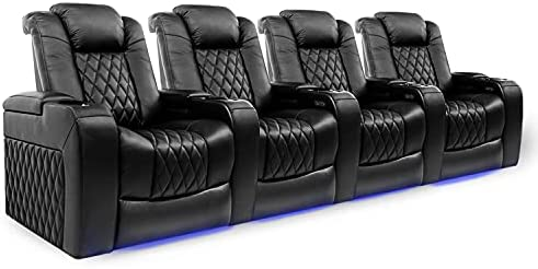 Lumbar Recliner with Extra Space Home Theatre seat Brown, Row of 2 Valencia Tuscany XL Premium Top Grain Nappa Leather Power Headrest