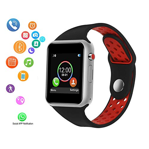 Smart Watch, Bluetooth Smart Watch with Touch Screen, Camera and SIM/TF Card Slot, Pedometer, Music Play, Water Resistance Compatible with Android iOS Phone Samsung, Pixel, iOS Phone X8 7 6 6s-Unisex