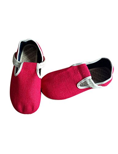 Youlee Women's Woven Straw Shoes Couple Flats Shoes Red RxhYI5ViSn