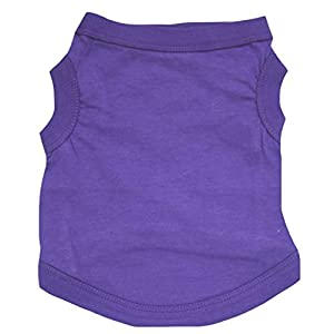 Petitebella Puppy Clothes Dog Dress Plain Color Sleeveless Cotton Shirt (X-Large, Purple)