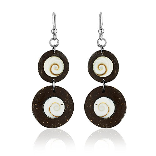 925 Sterling Silver, Shiva Shell and Coconut Wood Double Circles Dangle - Coconut Jewellery Shell