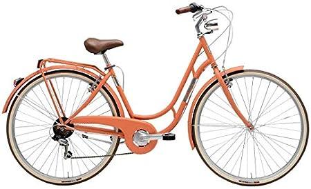 Bicicleta de 28 pulgadas para mujer Adriática Danish Shimano, 6 V, color salmón