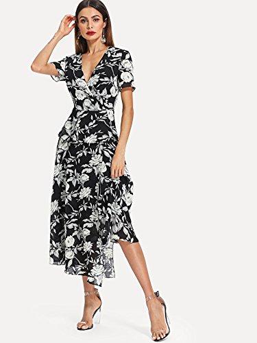 and Chiffon Women's Black Neck Deep Split Floral Boho Milumia Long Wrap V Dress White Maxi cOw4BdYqfq