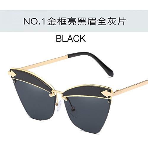 sol gafas brillantes de moda de negras hombres de gato flecha de universales gafas ojo piece Gafas metal las gray full eyebrow black sol la de bright los frame Burenqiq de Gold del señoras sol océano rojo la de oro y del del cejas de marco del del 8XPAE0qq