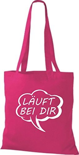 Shirtstown Stoffbeutel Sprechblase Läuft bei dir pink