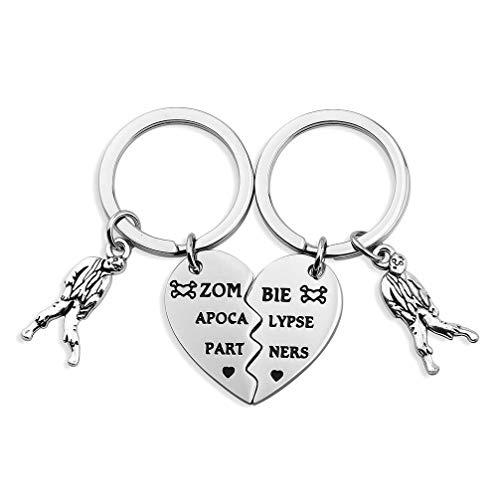 bobauna Zombie Apocalypse Partners Broken Heart Keychain Set of 2 Gift for Best Friends Couples (Zombie Apocalypse Partners) -