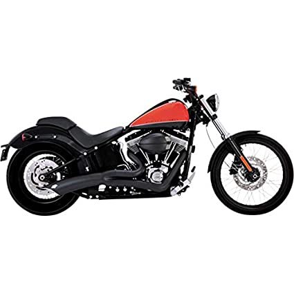 Vance & Hines 90-17 Harley FLSTF Big Radius 2-Into-1 Exhaust (Black)