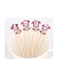 Lovely Wedding Bridal Rhinestone Crystal Flower Hair Clip Pins Bridesmaid(4PCS)