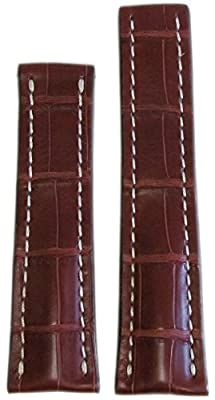 20mm RIOS1931 for Panatime Mahogany Genuine Alligator Watch Strap with White Stitching for Original Breit Deploy 20/18 110/90 from Panatime