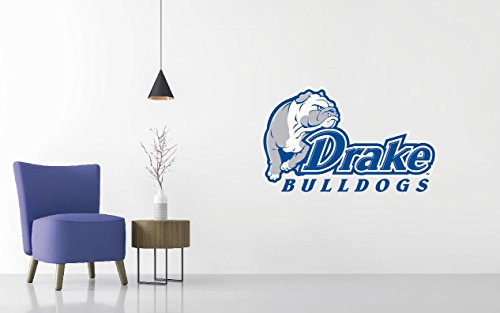 Drake Bulldogs - Basketball Team Logo - Wall Decal Removable & Reusable For Home Bedroom (Wide 40