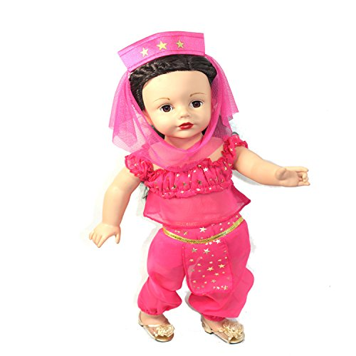 Arianna 4pcs Pink Gold Genie Costume Complete - Pink & Gold Genie Top | Harem Pant | Head Dress | Gold Sandals | Fits American Girl 18 Inch Doll | Boutique Quality She's Worth it! | 18