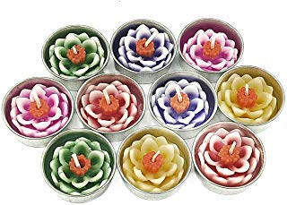 - Jakapan Lotus Flower Candle in Tea Lights, Floating Candles, Scented Tea Lights, Aromatherapy Relax, Gift Set 10 Pcs