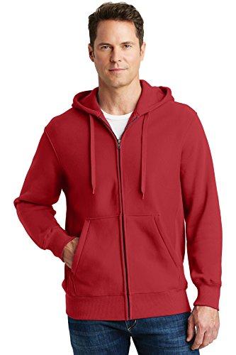Cross Zip Hoodie - Sport-Tek Men's Super Heavyweight Full Zip Hooded Sweatshirt XL Red