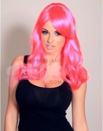 BRILLANTES peluca rosa IMPRESIONANTES capas largas NUEVO CON FRANJA: Amazon.es: Juguetes y juegos